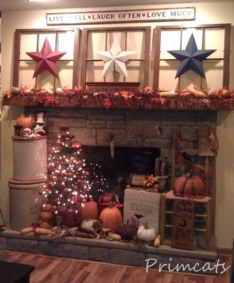 old primitive decorating ideas   Primitive Fall Decorating...with old windows, fall tree & barn stars ...