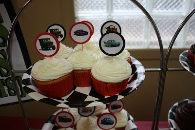 Disney Cars Themed Birthday Party DIY cupcake toppers.  Instructions and more Cars party details on www.fabeveryday.com