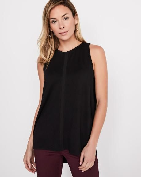 RW&CO. | Sleeveless loose-fit t-shirt with chiffon insert | Spring 2018