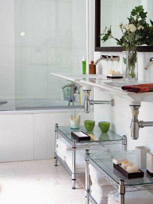 Einrichtungsideen fürs kleine Badezimmer tücher staufläche
