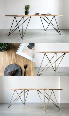 NUTSANDWOODS Oak Table Slim Tisch Aus Eichenholz Mit Gestell Messing Oder Stahl