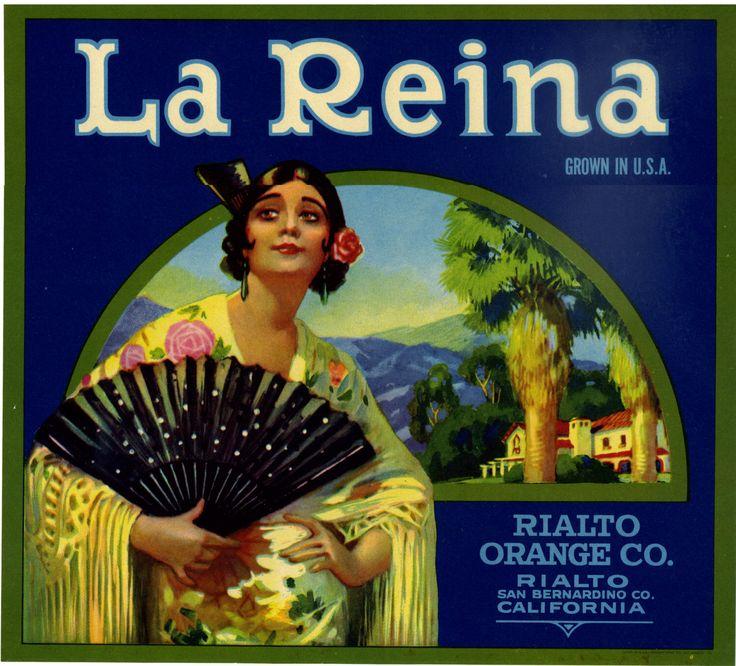 La Reina Orange Crate label San Bernadino California by LABELSTONE on Etsy https://www.etsy.com/listing/155564438/la-reina-orange-crate-label-san