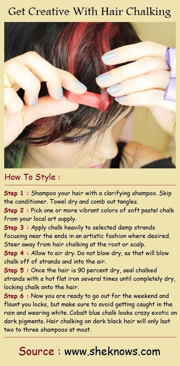 Get Creative With Hair Chalking. FOR ANYONE WHO WANTS SOMETHING LIKE DIP DYE YOU…