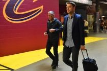 Matthew Dellavedova arrives for the game against the Atlanta Hawks during the Eastern Conference Semifinals Game One on May 4, 2016 at The Quicken Loans Arena in Cleveland, Ohio.