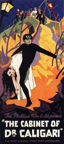 """February 26, 1920 – The first German Expressionist film and early horror movie, Robert Wiene's """"The Cabinet of Dr. Caligari,"""" receives its première in Berlin."""