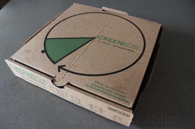 이 피자박스 패키지는 여러모로 소비자의 편익을 고려하여 개발되었다. 점선 …