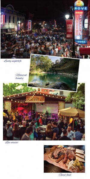 Austin Texas Nightlife, Hamilton pool, and Gueros stage photos courtesy Austin Convention and Visitors Bureau; Barbecue meal photo courtesy of Franklin Bar BBQ
