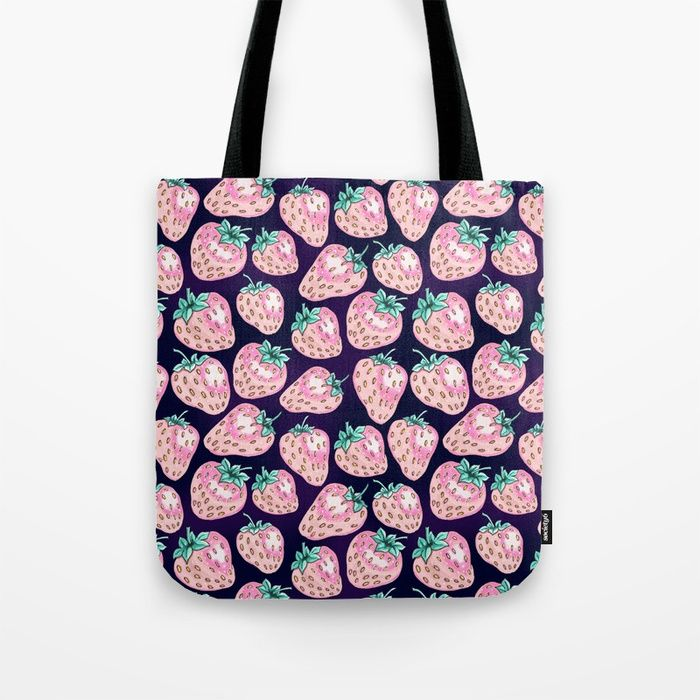 Pink Strawberry pattern on purple background Tote Bag