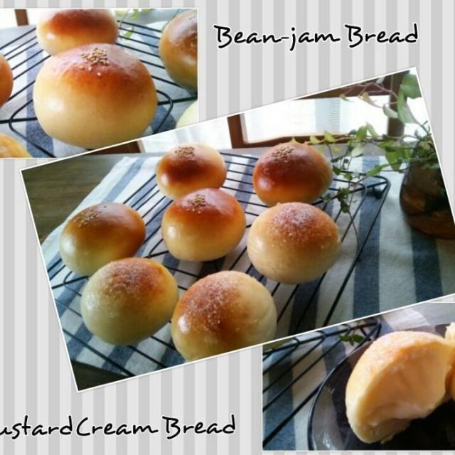 今日はパン作りの日?第2弾(笑)  アンパンは普通。。。 カスタードクリームパンは焼いたパンにカスタードクリームを後入れで~ - 152件のもぐもぐ - カスタードクリームパンとアンパン by みゆき