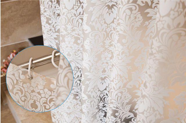 半透明つる パターン防カビ防peva浴室の シャワー カーテン防水風呂カーテン で フック