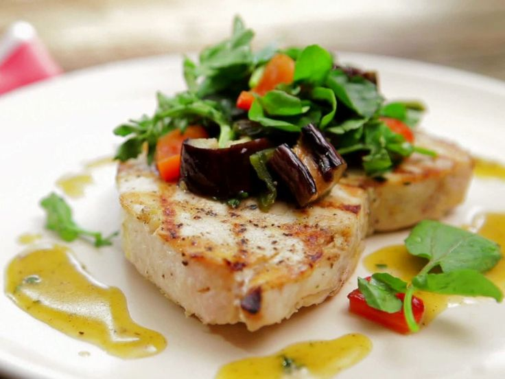 Grilled Swordfish and Eggplant Salad with Honey-Thyme Vinaigrette recipe from Bobby Flay via Food Network