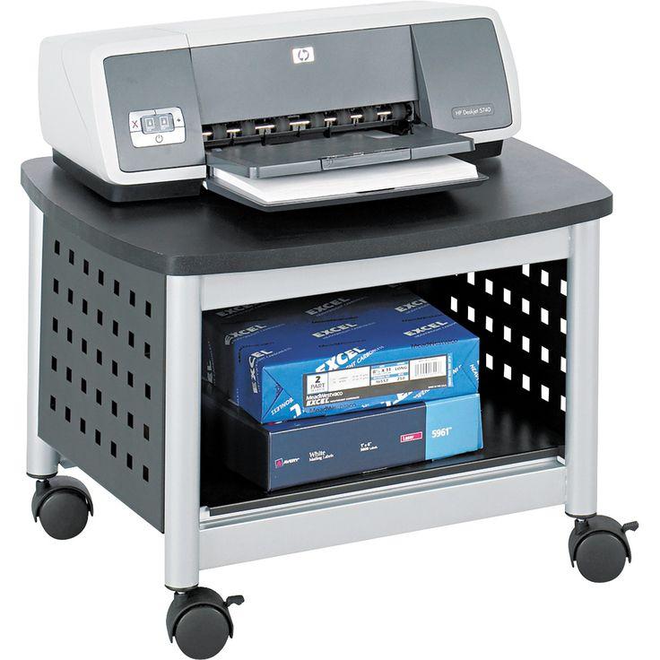 Safco Black & Silver Scoot Mobile Printer Stand