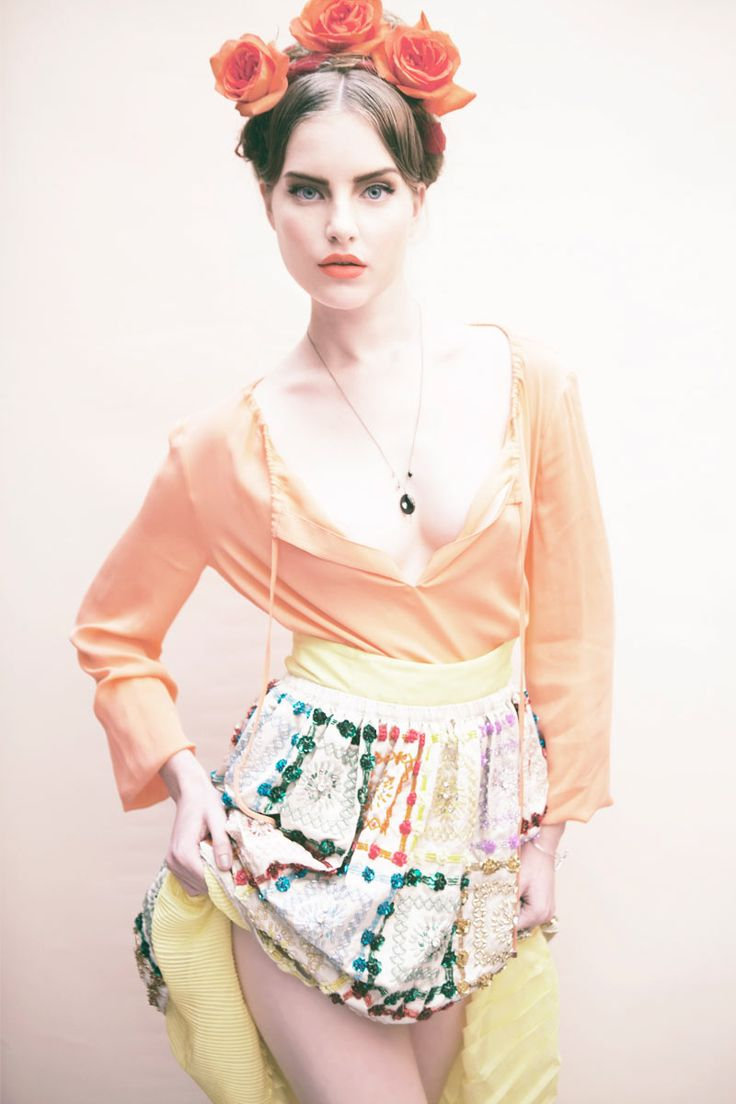 <3 this skirt~ Inspired by Mexican artist Frida Kahlo, photographer Anouk Kitsche captures Noah in colorful dresses and sparkling gem