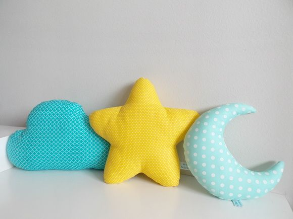Trio de almofadas: nuvem + estrela + lua