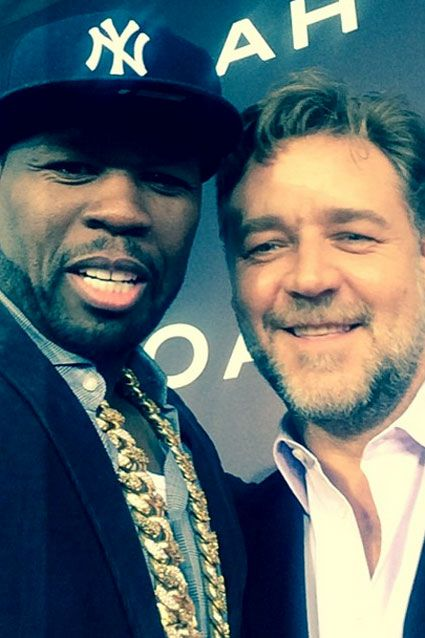Rapper 50 Cent snapped a selfie of him and Russell Crowe at the actor's New York City premiere of Noah on March 26, 2014.