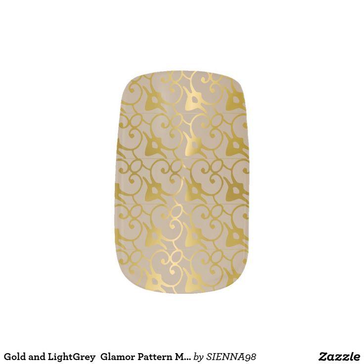 Gold und hellgraue Glamour-Musterminx-Nägel Nagelaufkleber