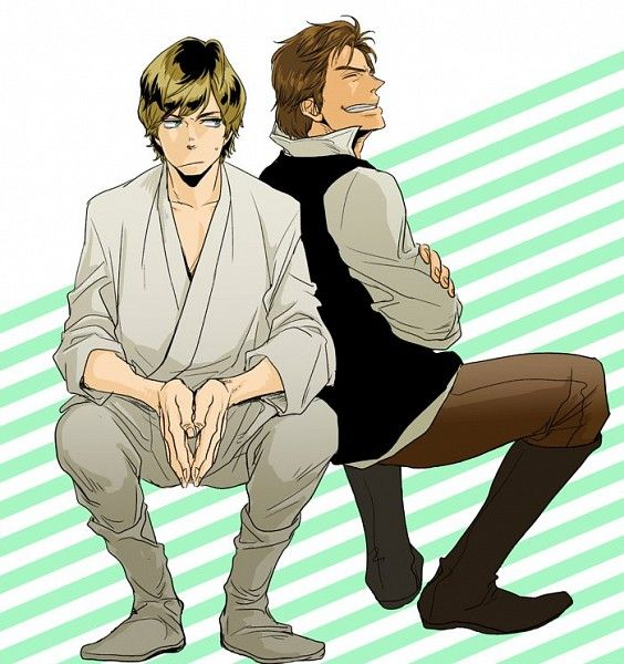 Star Wars, Han Solo, Luke Skywalker, Looking to Side, Sitting In Midair