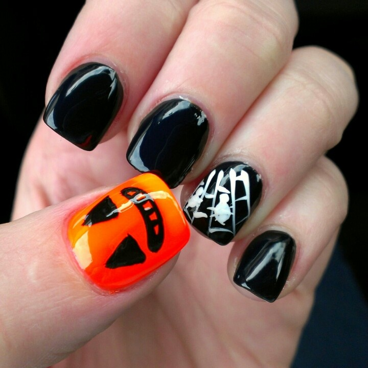 My Halloween themed nails (: | Nail art (: | Pinterest ...