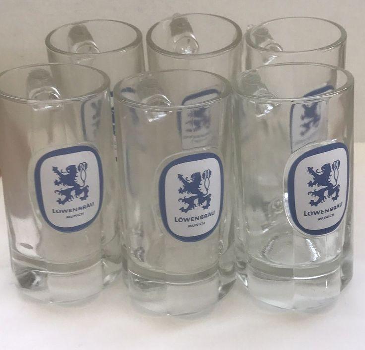 Lowenbrau beer glass Munich beer mug bar advertising vintage barware