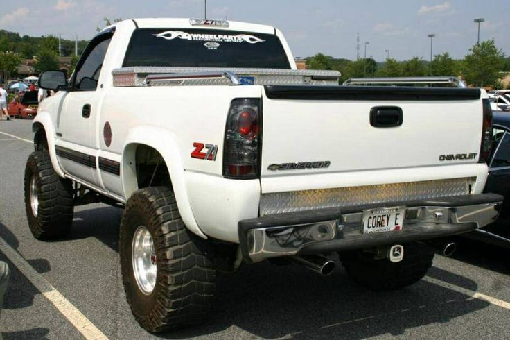 jacked up white chevy trucks - photo #44