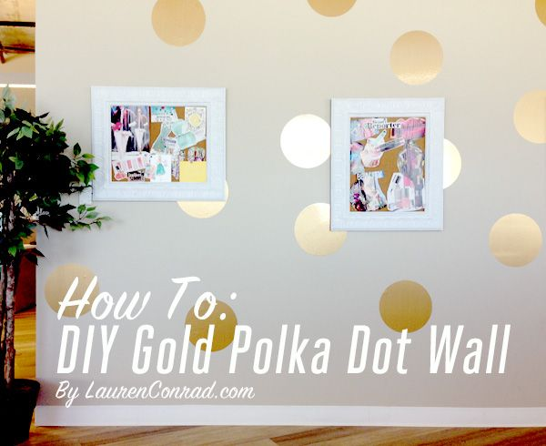 Office Makeover: How to DIY a Gold Polka Dot Wall {love this}