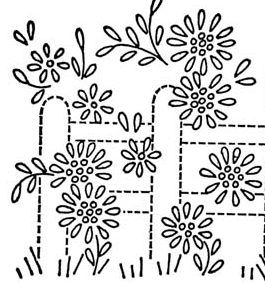 Close up of garden fence. Lots of vintage embroidery patterns here - I  like this one for the garden or edge of the meadow.