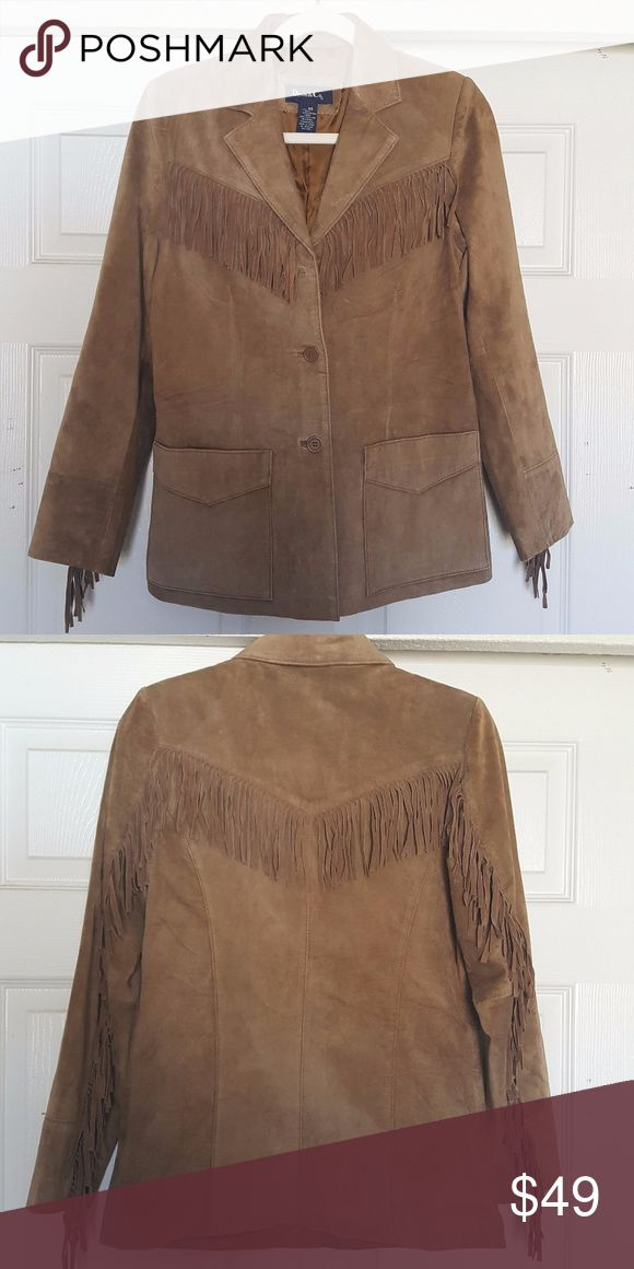 Denim & Co. Barn Fringed Leather Western Jacket Denim & Co. Leather Western Jacket, fringe detailing lends southwestern flair to the front yoke, back yoke, and back of each sleeve. Shell 100% leather; lining 100% polyester, Machine wash, tumble dry. New and never worn. Denim & Co. Jackets & Coats Blazers