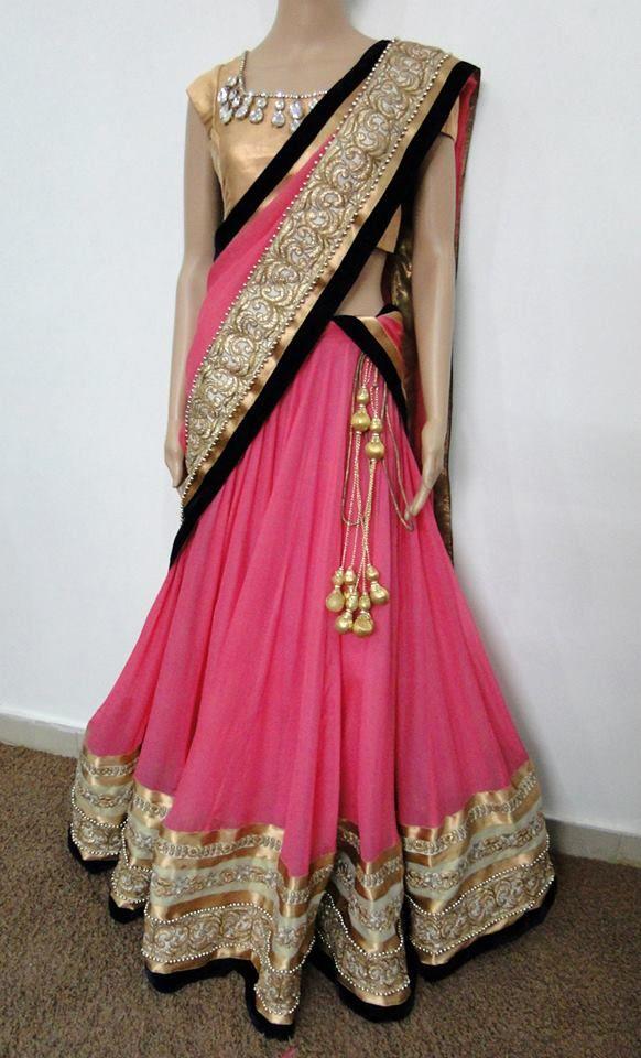 pink and black half saree