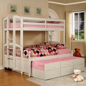 Bedroom. Bunk Beds Design Ideas With Triple White Bunk Beds And Pink Fabric Foam Mattress And Small White Wooden Ladder Together With Red Polka Dot Fabric Blanket And Also Red Polka Dot Fabric Pillowcase And White Wooden Drawer As Well As Beige Wall Painting And Also White Fur Rug And Brown Wooden Floor. Lovely Bunk Beds For Teenage Girls