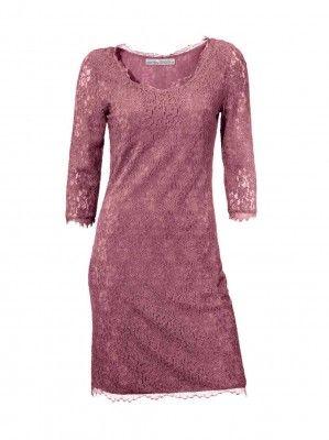Návrhářské krajkové šaty ASHLEY BROOKE i pro plnoštíhlé, šaty v barvě rosé (sklad v.38,40,42)