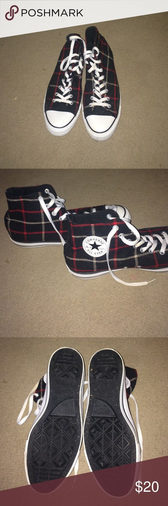 Converse High Top Plaid Shoes [mens 9][womens 11] Converse High Top Plaid shoes. Fits a men's 9 or women's 11. Great condition. Worn a few times..just don't like them. No stains or rips. Make any offer! Converse Shoes Sneakers