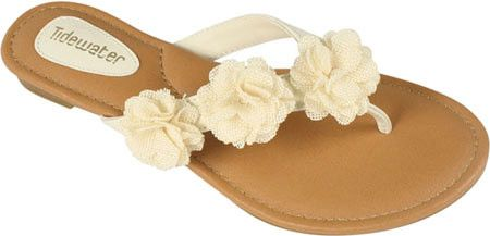 Cream Flip Flop with Roses