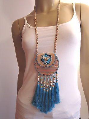 Modekette Damen Hals Kette Leder lang mit Tasche Hippie Ibiza Brustbeutel t7765