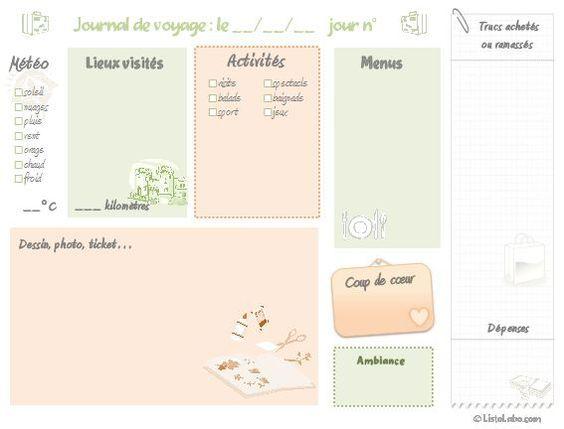 Notre nouveau kit à imprimer exclusif, création ListoLabo ! Une fiche quotidienne de journal de voyage. C'est de saison :-) et c'est gratuit !