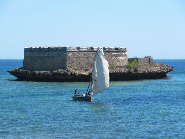The triangular Ilhéu Fortim de São Lourenço sits on a tiny island off the south end of Mozambique Island.