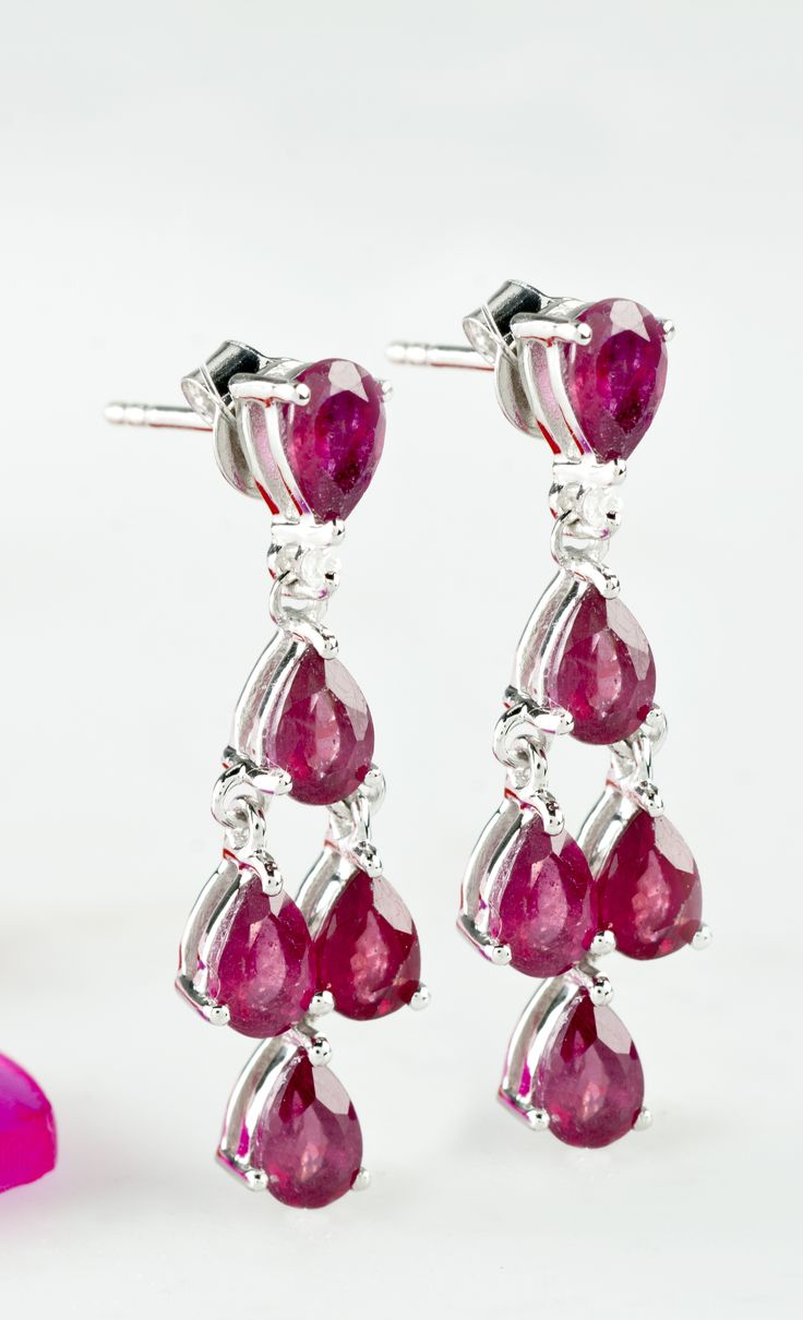 505ctw Pear Shape Mahaleo Ruby And 04ctw Round White Zircon Silver  Earrings
