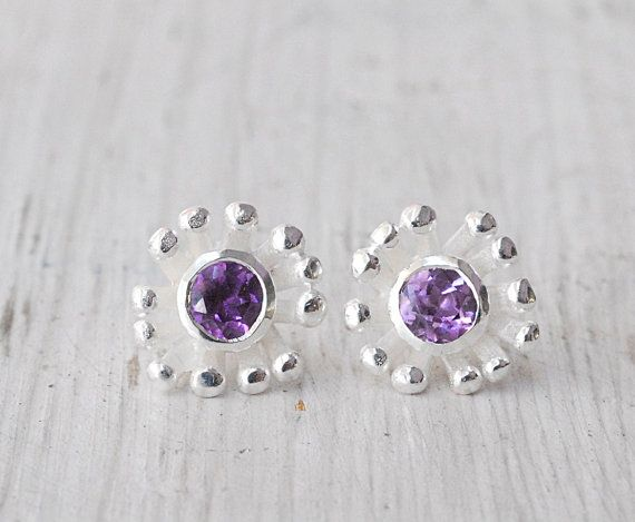 Precious Little Flower Earrings  Sterling Silver Flower Stud and Purple by SunSanJewelry, $128.00