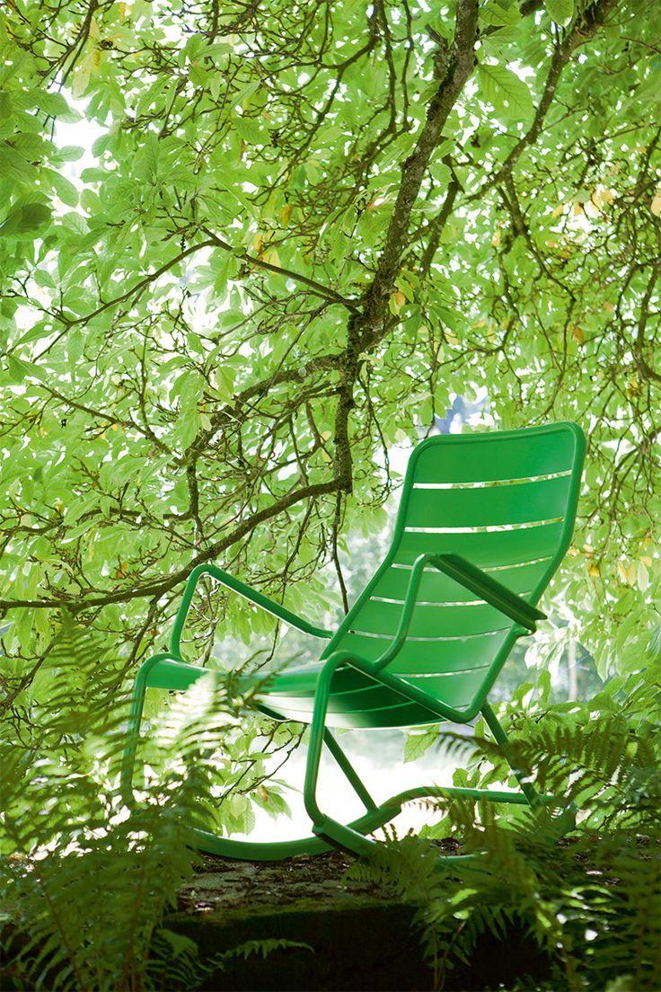 Rocking chair luxembourg vert prairie fermob green - Rocking chair jardin ...
