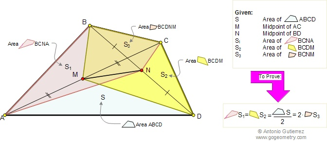 Math Geometry Problem 87: Quadrilateral area and diagonal midpoints, meian of a triangle. Level: High School, College, Math Education, Teaching