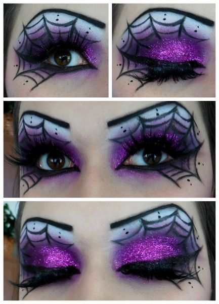 Sparkly Spiderweb Halloween Makeup http://www.thegloss.com/2014/09/25/beauty/unique-halloween-eye-makeup-ideas-eyeshadow-tutorials-hacks-advanced/
