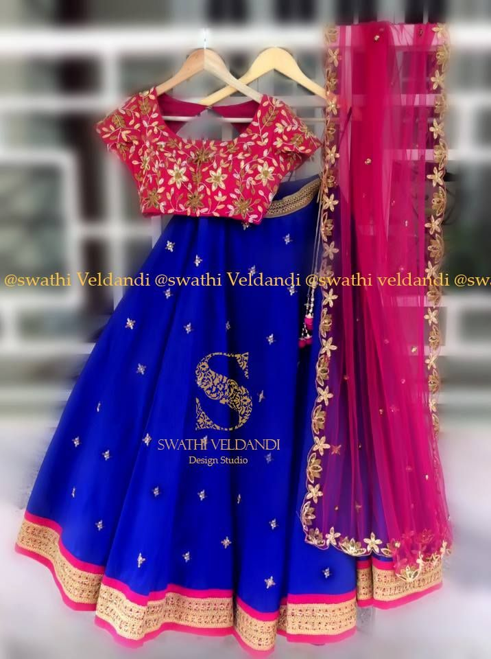 Royal Blue Lehenga with pink blouse and cutwork border dupatta.It is peffect suit for Party wear . <br> call / watsapp : +918179668098 for detailsNote :colors size model can be customized as required 07 July 2017