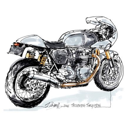 Dave Hendroff Triumph Thruxton Sketch on Archival Paper