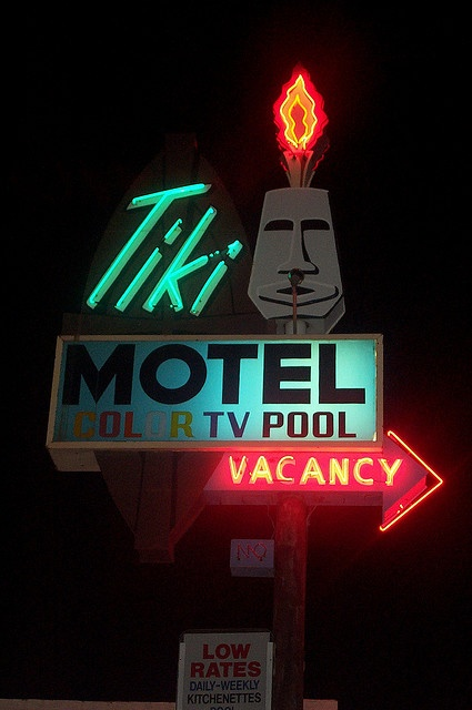 Tiki Motel - Tucson, AZ. I have been told that at one point, the flames coming out of his head were a natural gas jet!