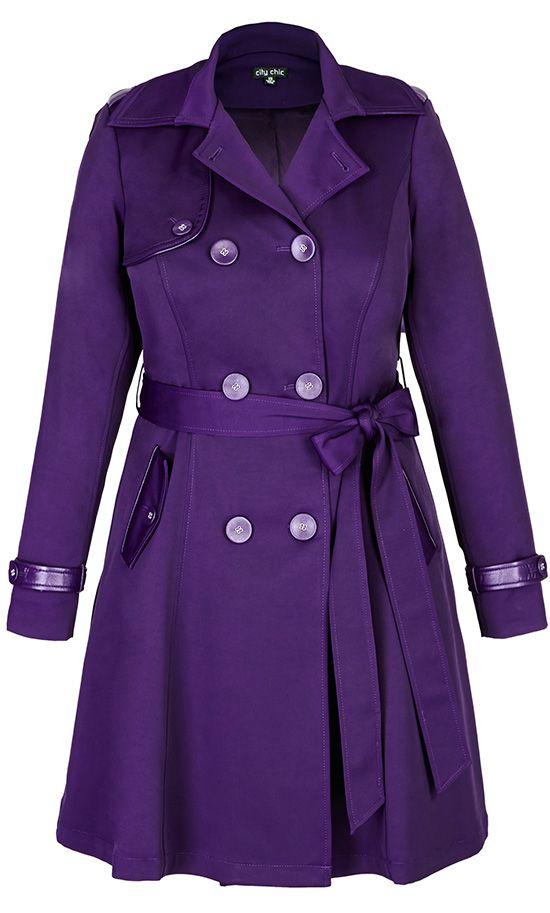 City Chic - CORSET BACK TRENCH COAT - PURPLE -  [ HGNJShoppingMall.com ] #fashion
