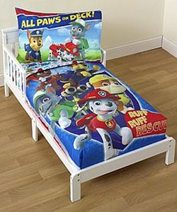 "Paw Patrol ""All Paws on Deck"" 4-Piece Toddler Bedding Set $44.99 Animal lovers will appreciate the Paw Patrol designs on this bedding set."
