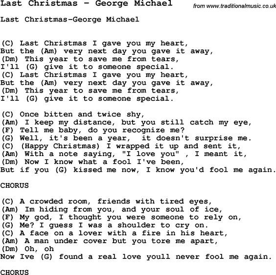 Last Christmas by George Michael Song Lyric