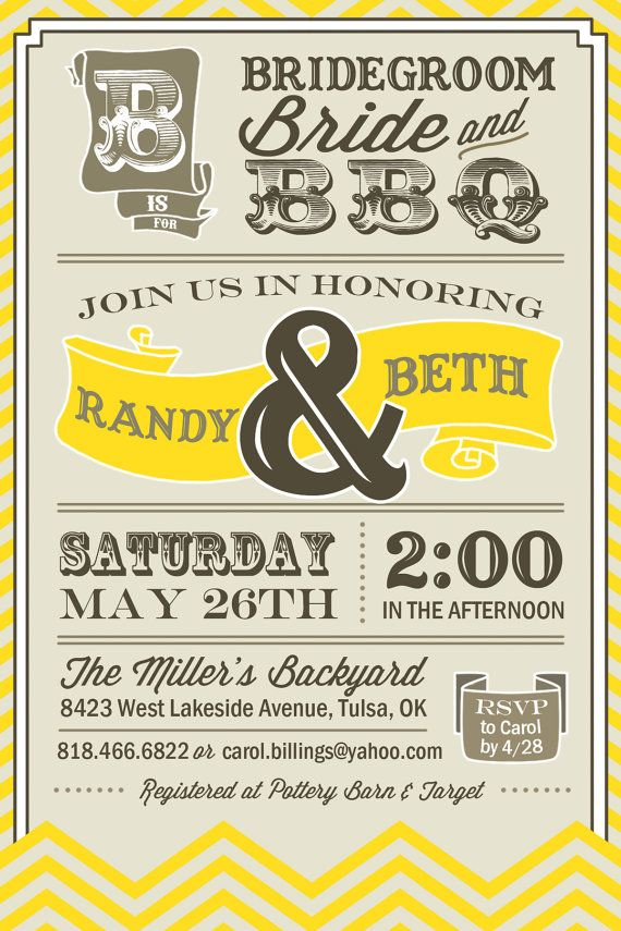 PRINTABLE  Vintage BBQ  Wedding / Couples Shower by UrbanFrontiers, $12.00