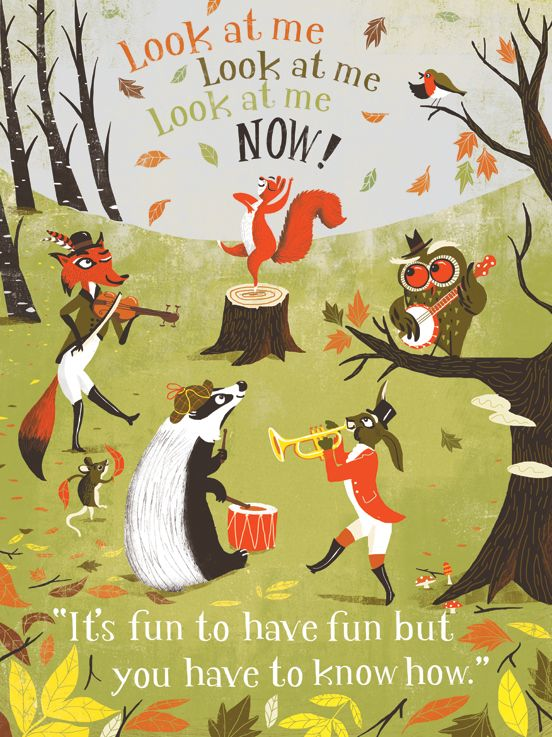 illustration, animal, bird, owl, banjo, music, band, rabbit, badger, fox, violin, squirrel, woodland, naive.