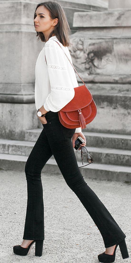 Fashion Agony White Bohemian Blouse Black Flares Fall Streetstyle Inspo