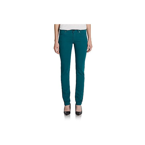 Escada Sport Skinny Jeans ($69) found on Polyvore featuring jeans, pants, teal, skinny fit denim jeans, mid-rise jeans, denim skinny jeans, skinny jeans and super skinny jeans